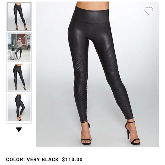 40684856d1ecd9 SPANX Pants | Black Moto Faux Leather Leggings | Poshmark